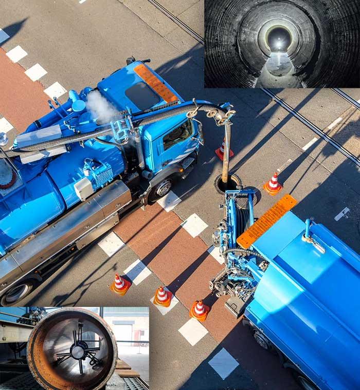 Voma uređaj montiran na kamion vrši odgušenje kanalizacije u Rakovici.